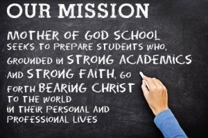Mother of God Mission written on chalkboard