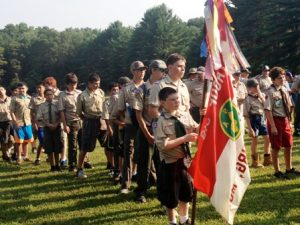 Boy Scouts with Troup Flag